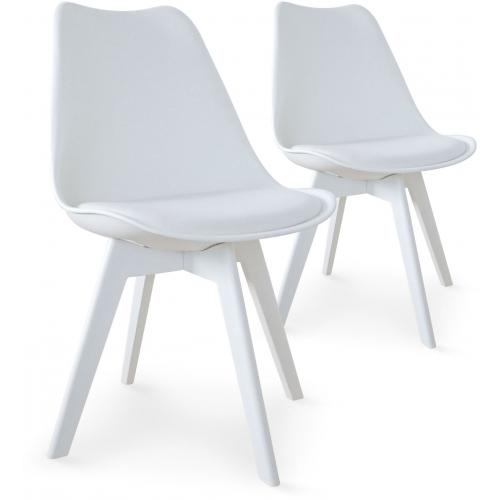 3S. x Home - Lot de 2 chaises scandinaves blanches NIRA - Chaise, tabouret, banc