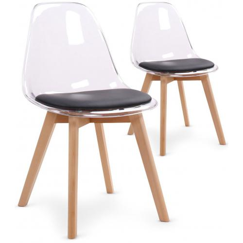 3S. x Home - Lot de 2 chaises scandinaves transparentes et coussin noir SULLY - Chaise, tabouret, banc