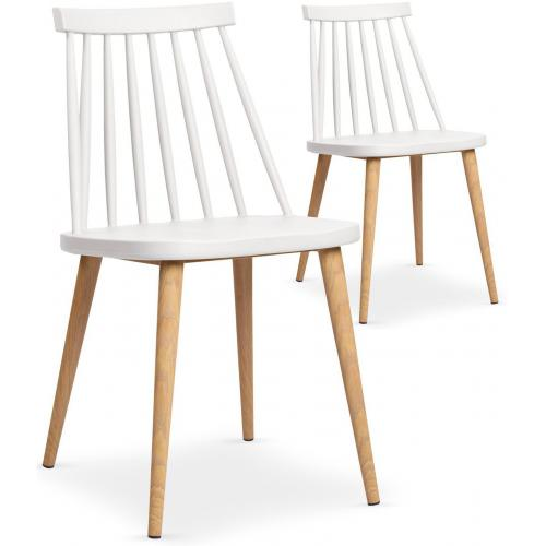 Lot de 2 chaises scandinaves blanches TAPLA