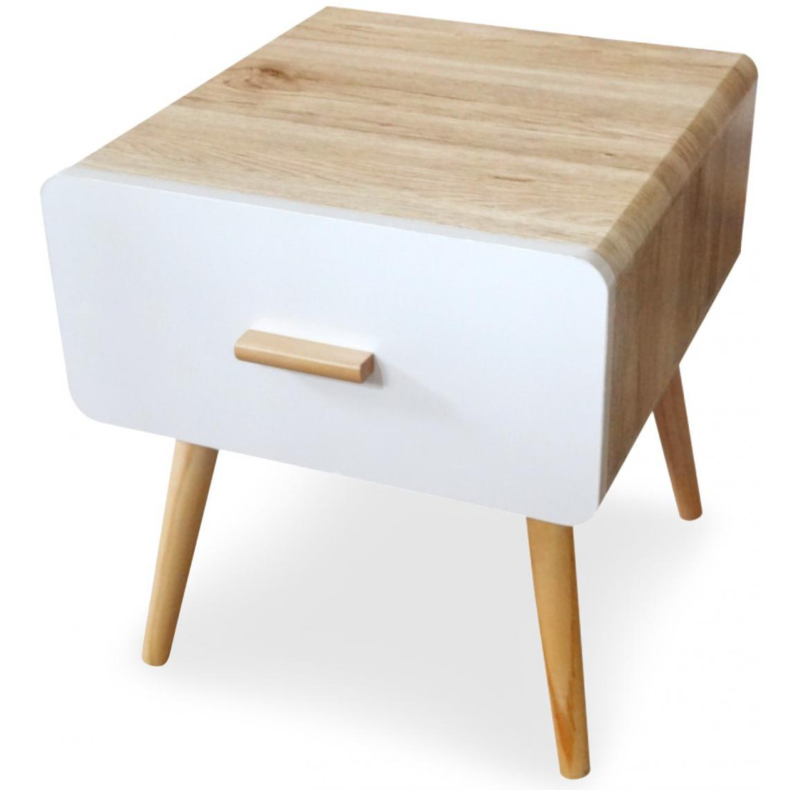 table de chevet blanche et bois fily 3 suisses. Black Bedroom Furniture Sets. Home Design Ideas