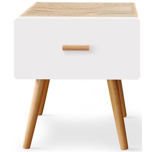 3S. x Home - Table de chevet blanche et bois FILY - Table de chevet