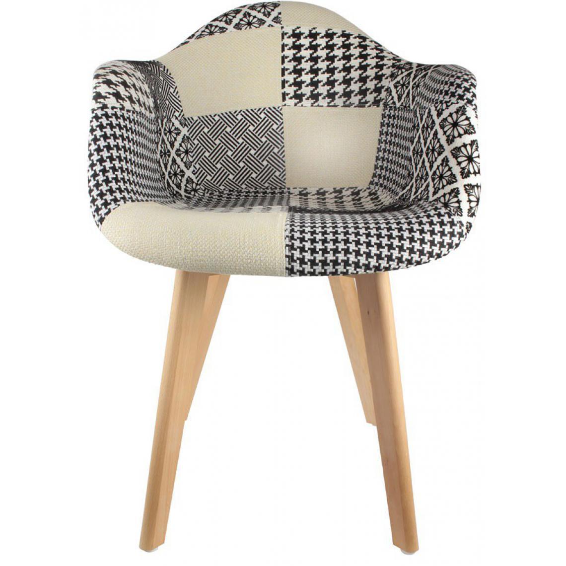 chaise scandinave avec accoudoir patchwork bicolore fjord. Black Bedroom Furniture Sets. Home Design Ideas