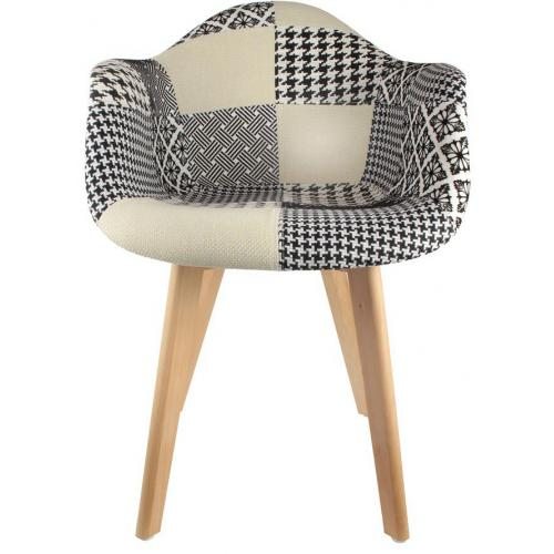 3S. x Home - Chaise scandinave avec accoudoir patchwork bicolore FJORD - Chaise