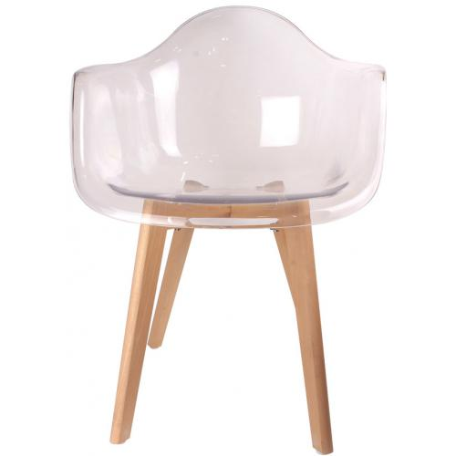 3S. x Home - Chaise scandinave avec accoudoir transparent ORKNEY - Chaise