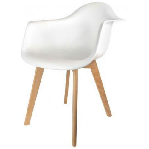 3S. x Home - Chaise scandinave avec accoudoir blanc ORKNEY - Chaise
