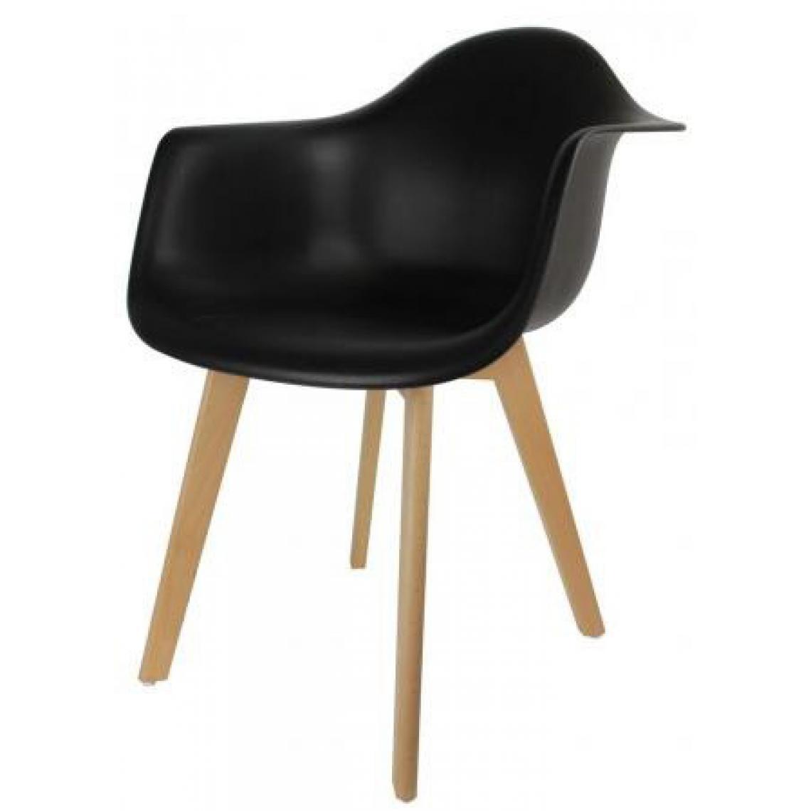 chaise scandinave avec accoudoir noir vogar 3suisses. Black Bedroom Furniture Sets. Home Design Ideas