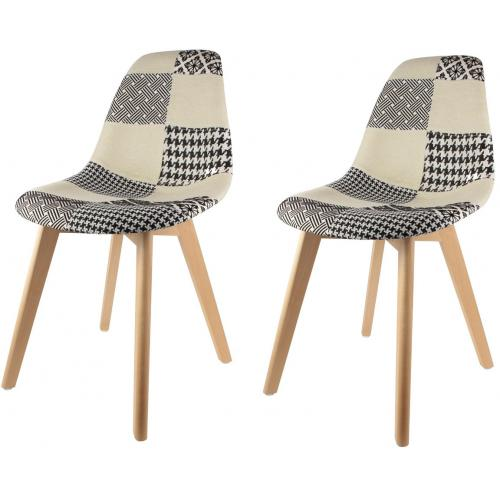 3S. x Home - Lot de 2 chaises scandinaves patchwork bicolores ORKNEY - Scandinave