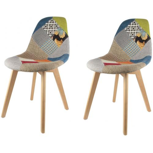 3S. x Home - Lot de 2 chaises scandinaves patchwork colorés ORKNEY - Meuble & Déco