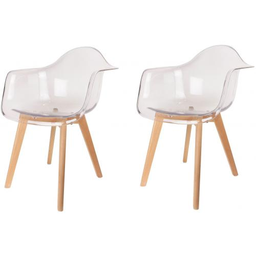3S. x Home - Lot de 2 chaises scandinaves avec accoudoir transparentes ORKNEY - Scandinave