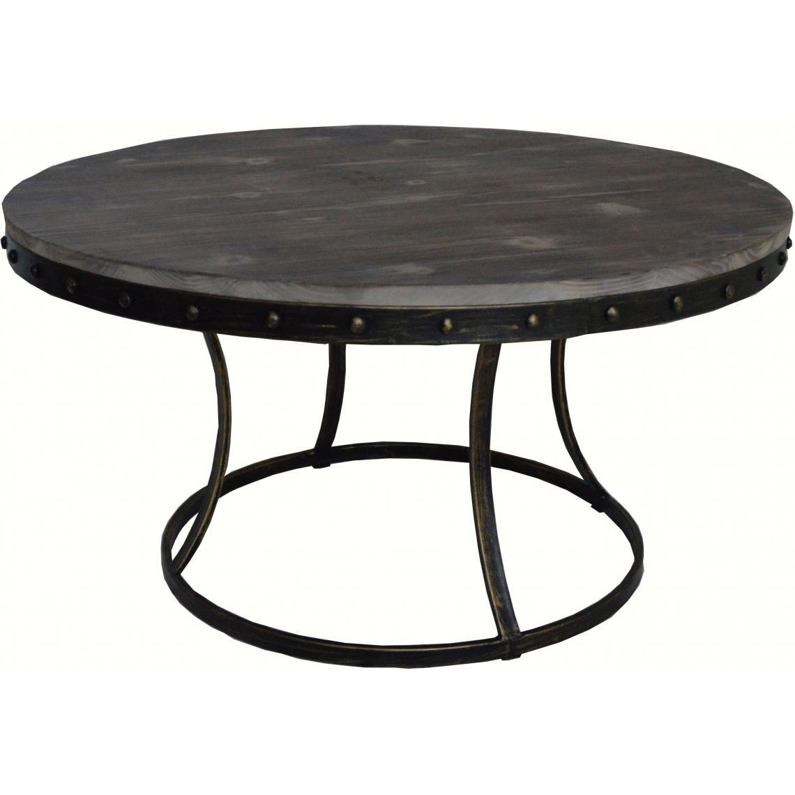 Table basse ronde en métal et bois FONDIA