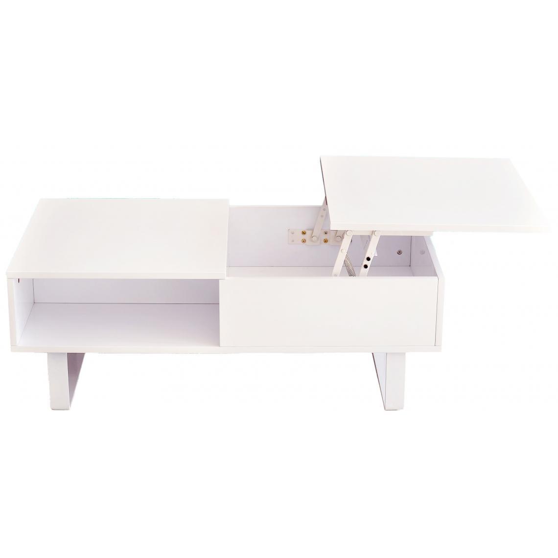 Table Basse Blanche Avec Plateau Relevable Melvin 3 Suisses
