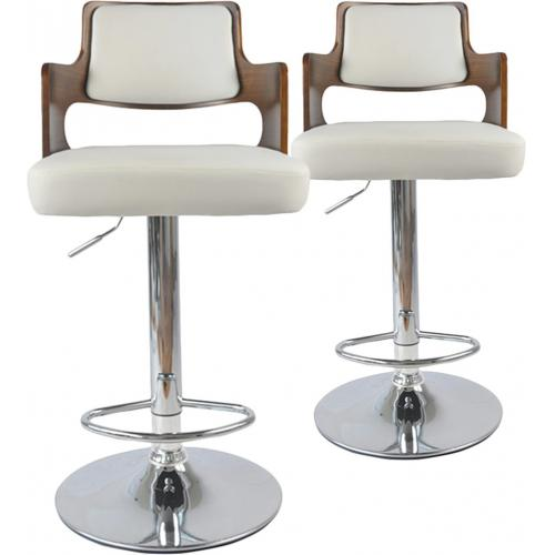 3S. x Home - Lot de 2 tabourets de bar Noisette et Blanc KENZA - Tabouret de bar