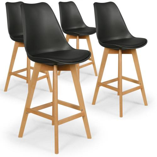 3S. x Home - Lot de 4 tabourets de bar noirs MOLDE - Tabouret de bar