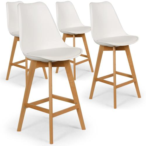 3S. x Home - Lot de 4 tabourets de bar blancs MOLDE - Tabouret de bar