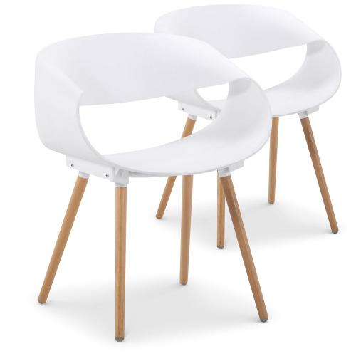 3S. x Home - Lot de 2 chaises design blanches EIK - Chaise