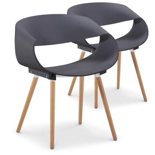 3S. x Home - Lot de 2 chaises design grises EIK - Chaise, tabouret, banc