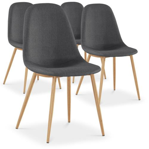 3S. x Home - Lot de 4 chaises grises HAMAR - Chaise