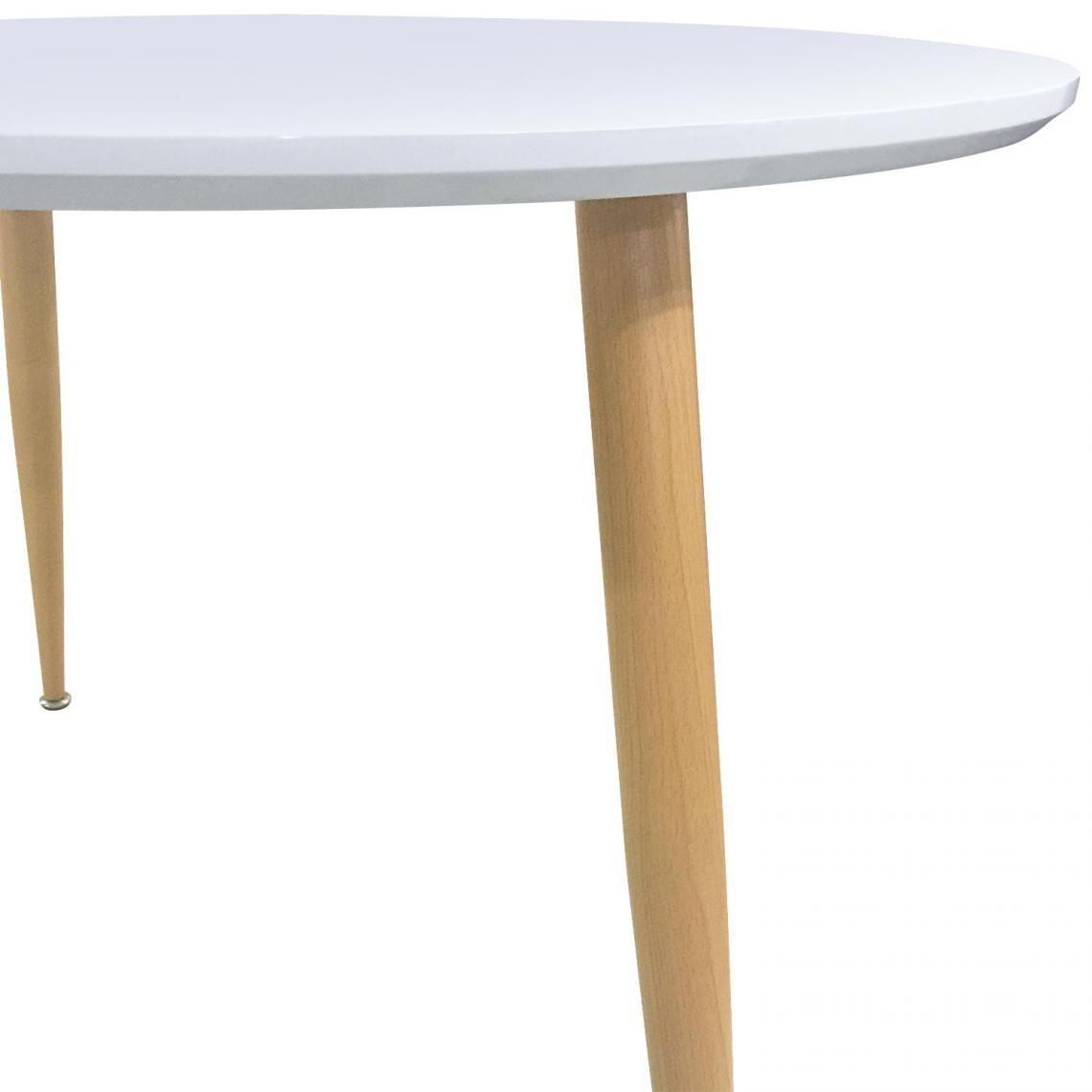 Table scandinave 110cm de diamètre bois laqué blanc ARNES   3 SUISSES