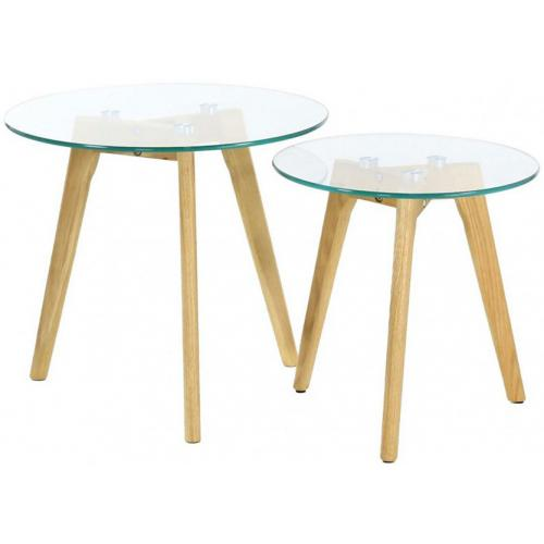 3S. x Home - Lot de 2 Tables Gigognes Verre Trempé D50 PETSAMO - Meuble & Déco