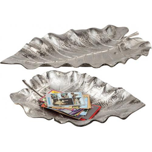 KARE DESIGN - Lot De 2 Coupes KARE DESIGN Feuille Argentée AUTUMN LEAF - Divers rangements