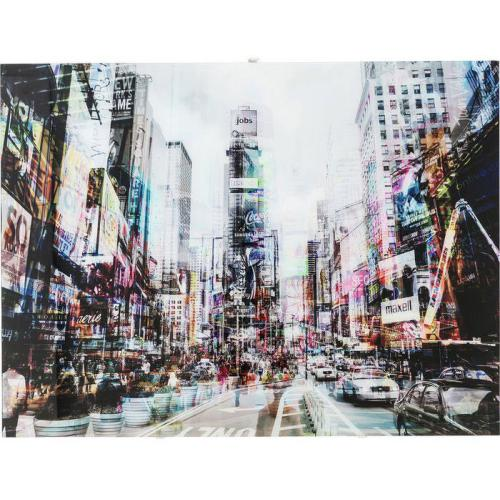 KARE DESIGN - Tableau En Verre KARE DESIGN Impression Times Square 120x90 NYC - La déco