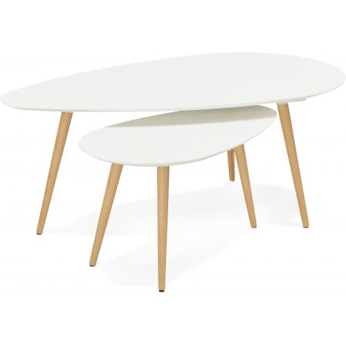 3S. x Home - Ensemble de deux tables gigognes scandinaves blanches VERA - Table basse
