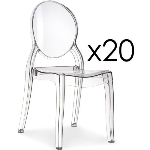 3S. x Home - Lot de 20 chaises Transparent ELIZABETH - Meuble & Déco