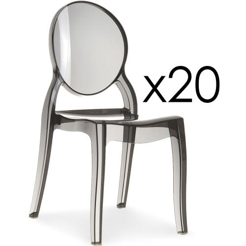 3S. x Home - Lot de 20 chaises Transparent Fumé ELIZABETH - Meuble & Déco