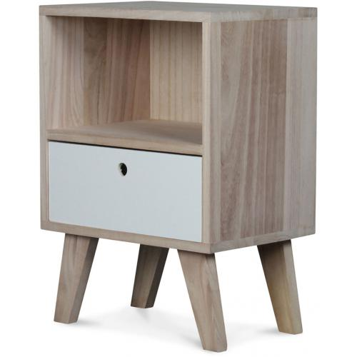 3S. x Home - Table de Chevet Bois Blanc MONTREAL - Chambre adulte