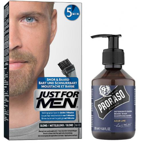 Just for Men - COLORATION BARBE Blond & Shampoing à Barbe Azur Lime - Bleu - Couleur naturelle - Soins homme