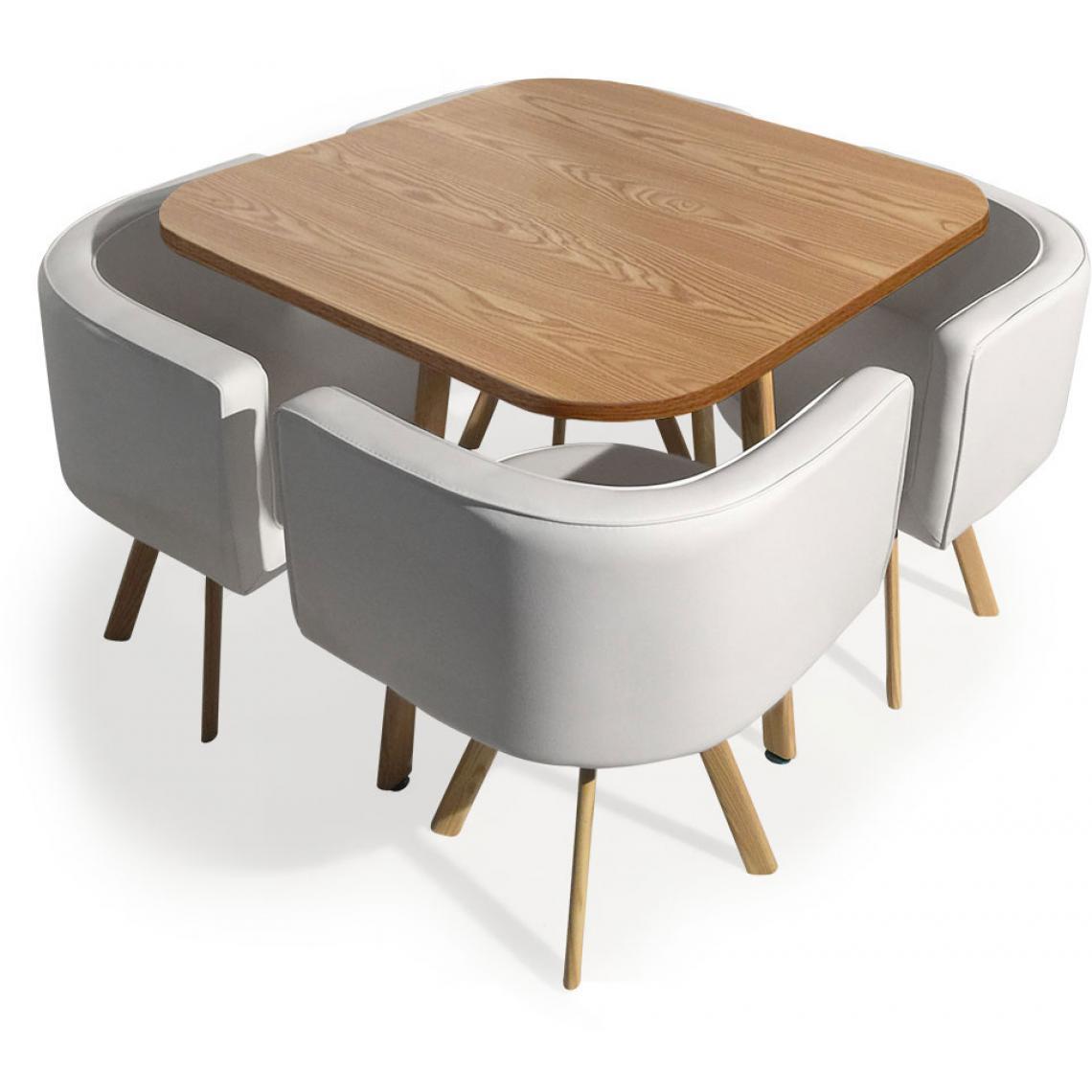 Table et chaises Encastrables Scandinaves Chêne COPENHAGUE
