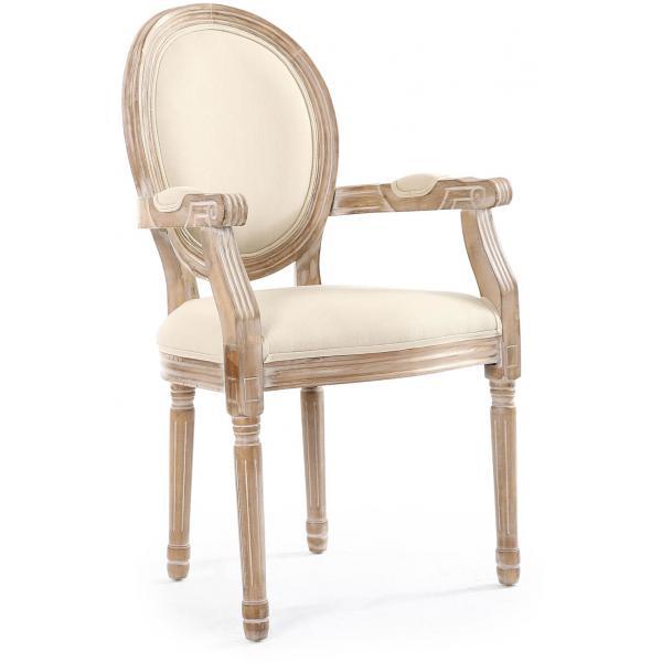 Lot de 2 Chaises Médaillon Style Louis XVI Tissu Beige HONORE