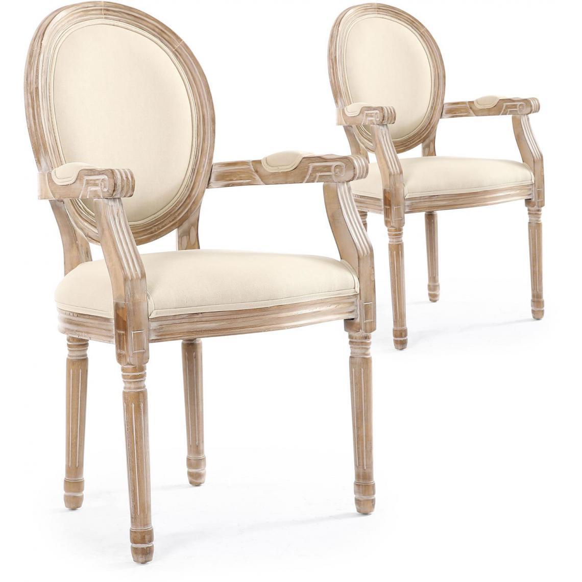 Chaise Salle A Manger Louis Xv lot de 2 chaises médaillon style louis xvi tissu beige honore plus de  détails