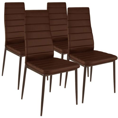 3S. x Home - Lot de 4 Chaises Design simili Taupe HOUSTON - Meuble & Déco