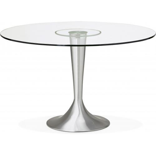 3S. x Home - Table à Manger Ronde Verre Pied métal D120 LIFT - Table
