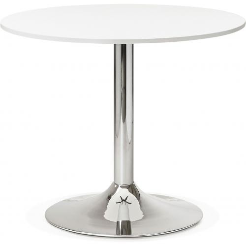 3S. x Home - Table Ronde Bois Blanche Pied métal D90 ZIRTEC - Table basse