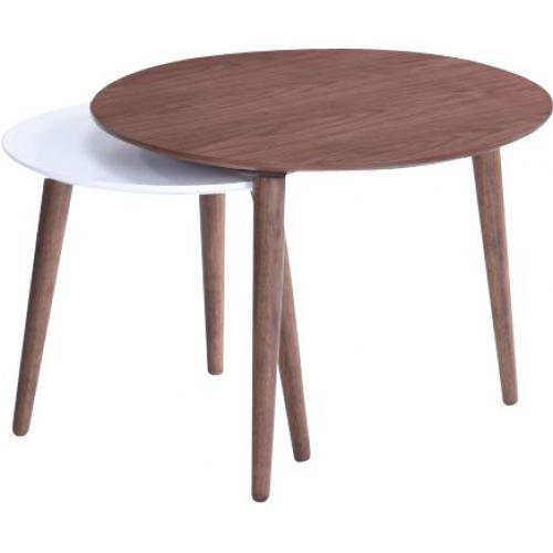 3S. x Home - Table d'Appoint Noyer Et Blanc POOLER - Table basse