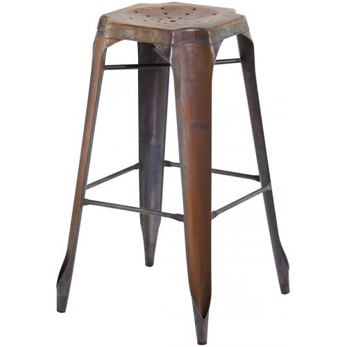 3S. x Home - Tabouret de Bar Industriel Métal Marron KIRK - Tabouret de bar