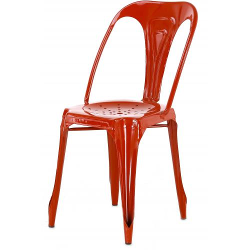 3S. x Home - Chaise Industrielle Rouge Métal SHENZI - Industriel