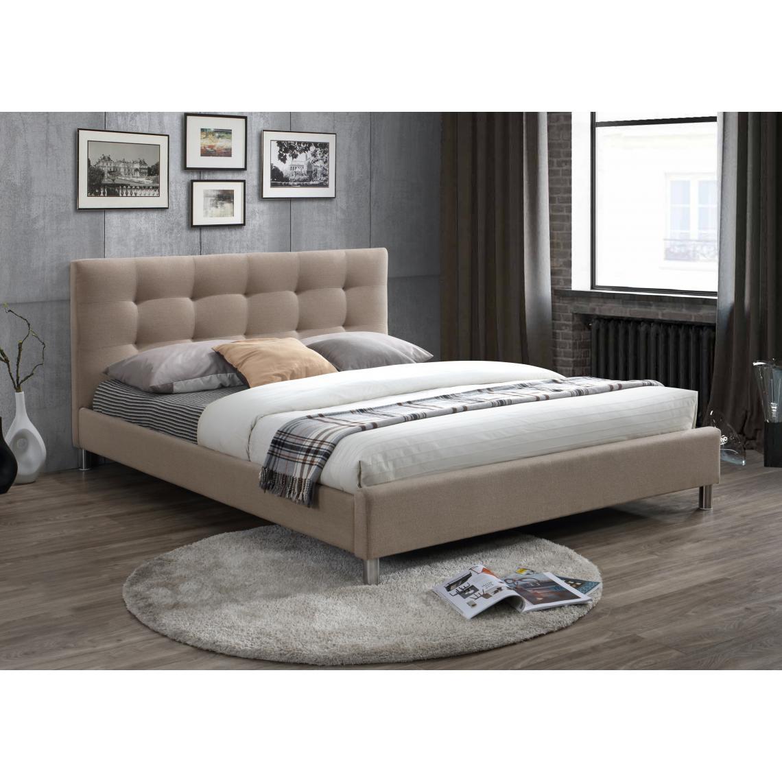 lit beige 160 en tissu avec t te de lit capitonn e nala 3 suisses