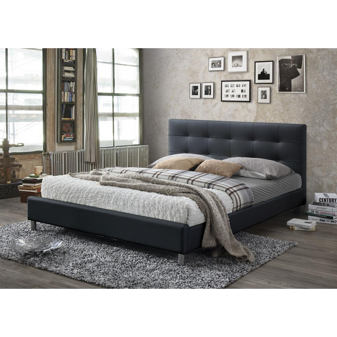 lit noir avec t te de lit capitonn e 160 eva 3 suisses. Black Bedroom Furniture Sets. Home Design Ideas
