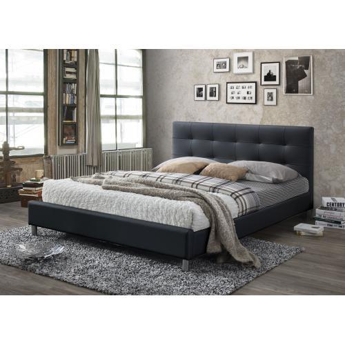 3suisses lit noir avec tete de lit capitonnee 160 nala chambre adulte