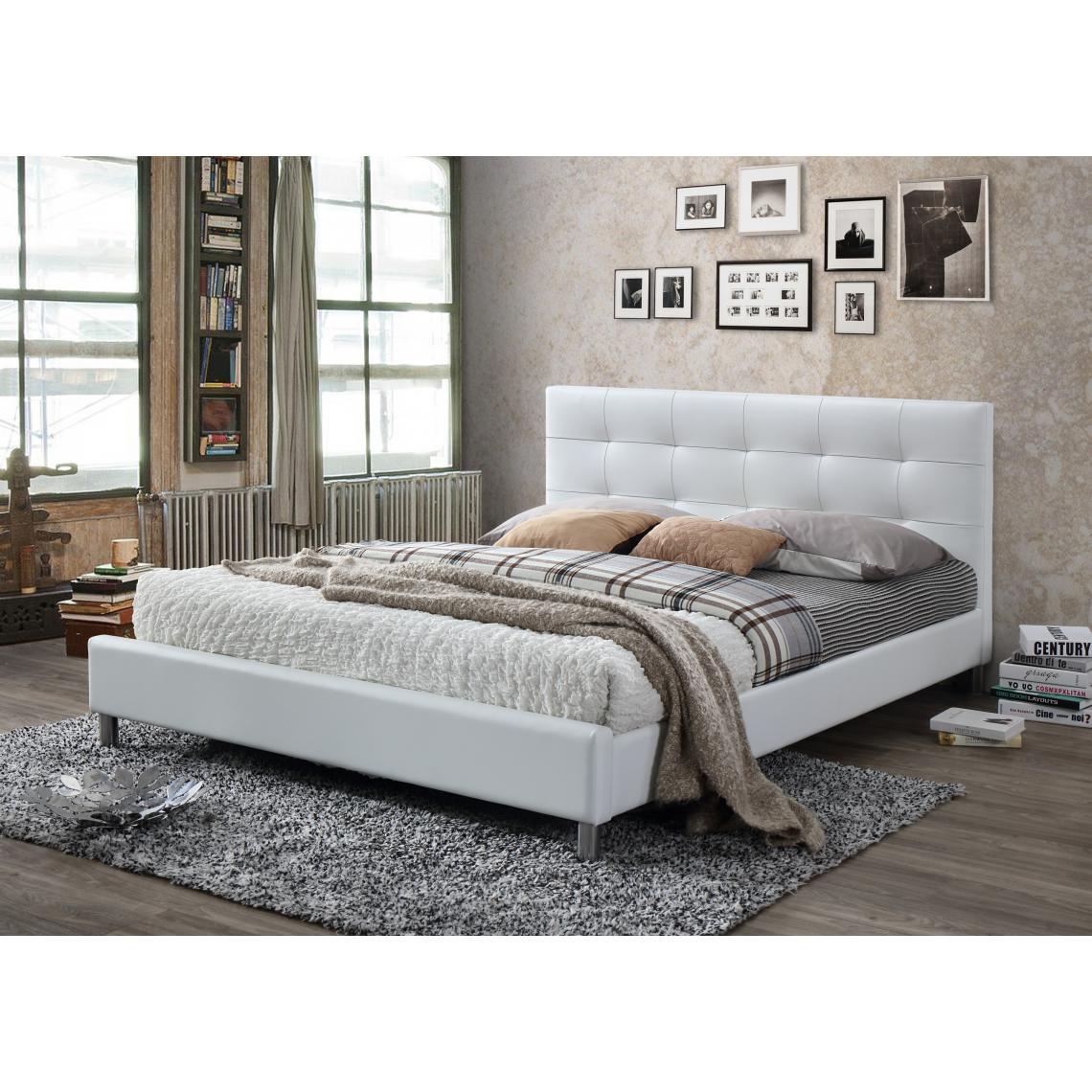 Tete De Lit Ethnique lit blanc avec tête de lit capitonnée 160 nala plus de détails