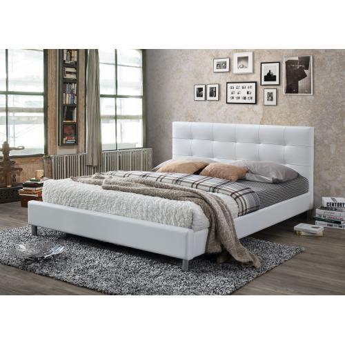 3suisses lit blanc avec tete de lit capitonnee 160 nala chambre adulte