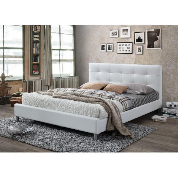lit blanc avec t te de lit capitonn e 160 eva 3 suisses. Black Bedroom Furniture Sets. Home Design Ideas