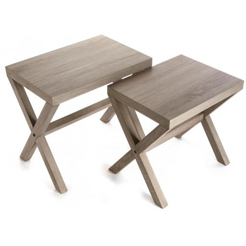 3S. x Home - Lot de 2 Tables Gigognes Bois ARONA - Scandinave