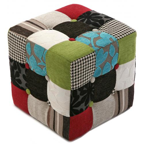 3 SUISSES - Pouf Cube Patchwork Multicolore LEON - Le salon