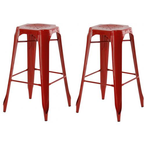 3S. x Home - Lot de 2 Tabourets de Bar Industriels Métal Rouge KIRK - Meuble & Déco