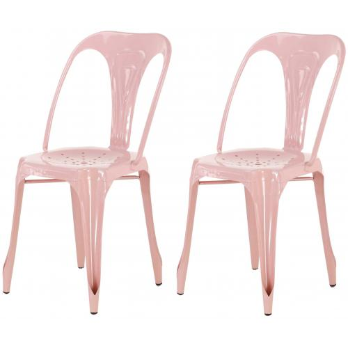 3S. x Home - Lot de 2 Chaises Industrielles Rose Métal KIRK - Chaise
