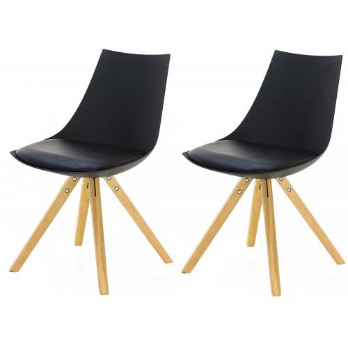 3S. x Home - Lot de 2 Chaises Scandinaves Noires TURIN - Scandinave